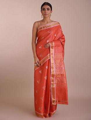 Orange Handwoven Tussar Silk saree