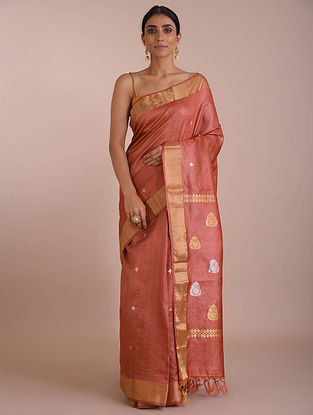 Red Handwoven Tussar Silk saree