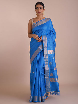 Blue Handwoven Tussar Silk saree