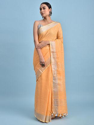 Orange Handwoven Linen Saree with Zari
