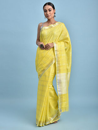 Yellow Printed Handwoven Cotton Linen Saree with Zari