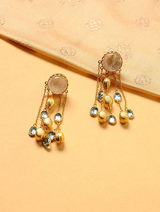 Gold Plated Silver Earrings with Blue Topaz and Moonstone