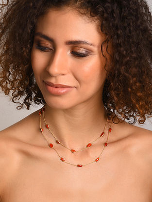 Gold Plated Silver Necklace with Coral