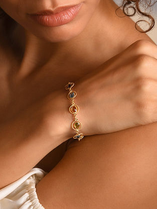 Gold Plated Silver Bracelet with Semi-precious Stones