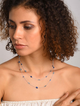 Silver Necklace with Blue Topaz and Sapphire