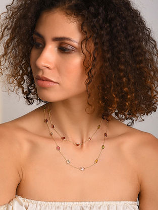 Gold Plated Silver Necklace with Tourmaline