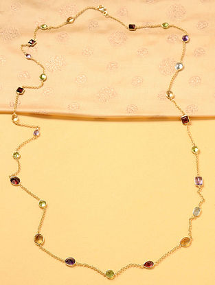 Gold Plated Silver Necklace with Semi-precious Stones