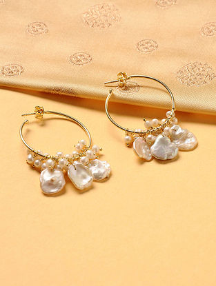 Gold Plated Silver Hoop Earrings with Pearls