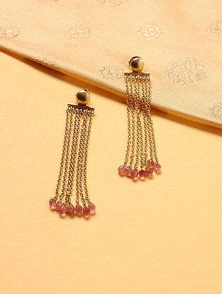 Gold Plated Silver Earrings with Tourmaline