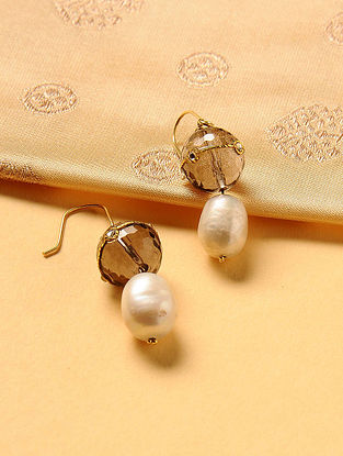 Gold Plated Kundan Silver Earrings with Smoky Topaz and Shell Pearls