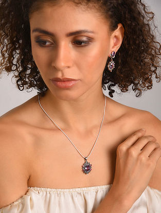 Amethyst, Marcasite and Ruby Pendant with Chain and Earrings