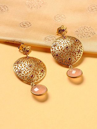 Gold Plated Silver Earrings with Rose Quartz