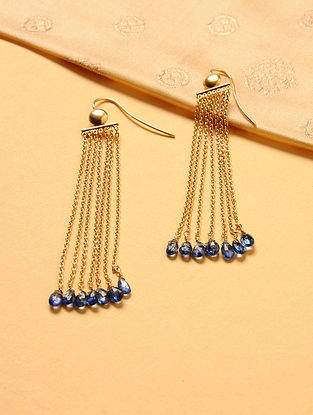 Gold Plated Silver Earrings with Iolite