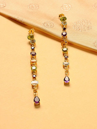 Gold Plated Silver Earrings with Semi-precious Stones