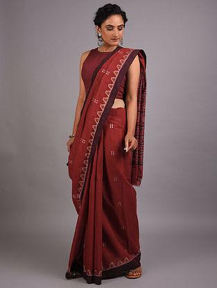 Red Handwoven Sambalpuri Ikat Cotton Saree