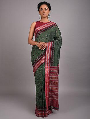 Green-Red Handwoven Sambalpuri Ikat Cotton Saree