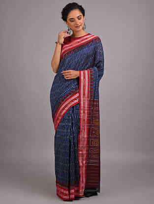 Blue-Red Handwoven Sambalpuri Ikat Cotton Saree