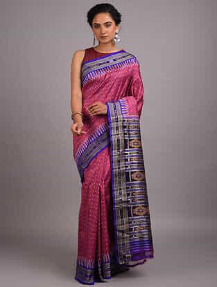 Pink-Blue Handwoven Sambalpuri Ikat Silk Saree