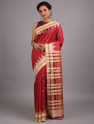 Red Handwoven Sambalpuri Ikat Silk Saree