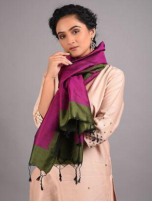 Pink-Green Handwoven Sambalpuri Ikat Silk Stole