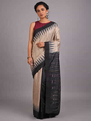 Beige-Black Handwoven Sambalpuri Ikat Tussar Ghicha Silk Saree