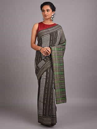 Grey Handwoven Sambalpuri Ikat Cotton Saree