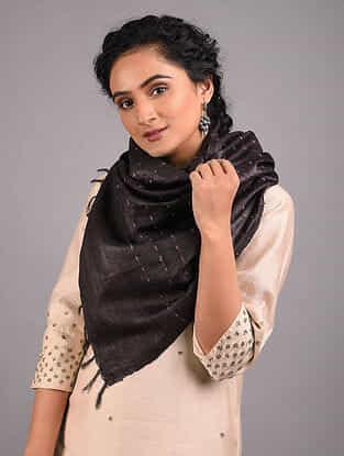Black Handwoven Tussar Silk Stole