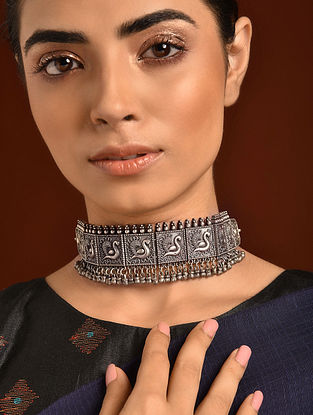 Silver Tone Tribal Choker Necklace