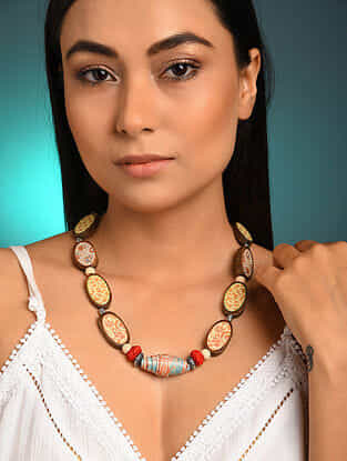 Multicolored Printed Wooden Necklace