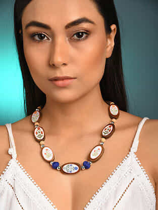 White Blue Printed Wooden Necklace