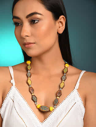 Blue Yellow Printed Wooden Necklace