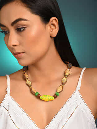 Yellow Printed Wooden Necklace