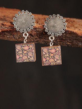 Black Red Silver Tone Printed Wooden Earrings