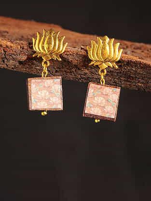 Peach Gold Tone Printed Wooden Earrings