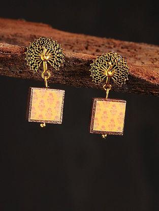Yellow Orange Gold Tone Printed Wooden Earrings