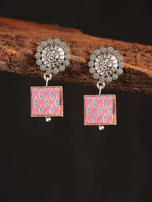 Red Silver Tone Printed Wooden Earrings