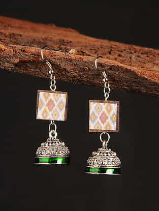 Multicolored Silver Tone Printed Wooden Jhumki Earrings