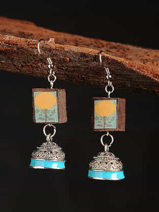 Yellow Turquoise Silver Tone Printed Wooden Jhumki Earrings