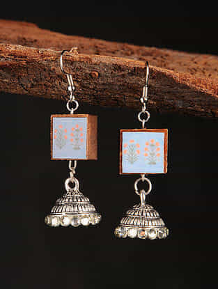 Blue Peach Silver Tone Printed Wooden Jhumki Earrings