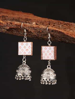 White Silver Tone Printed Wooden Jhumki Earrings