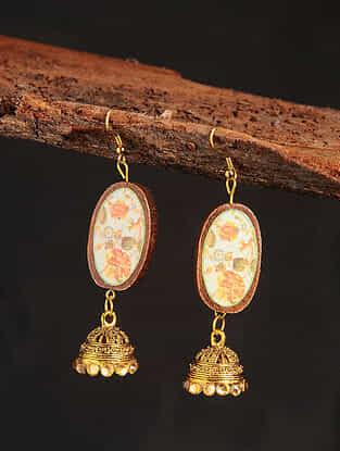 Orange Gold Tone Printed Wooden Jhumki Earrings