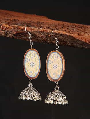 Cream Blue Silver Tone Printed Wooden Jhumki Earrings