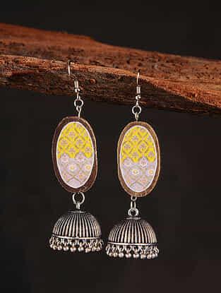 Yellow White Silver Tone Printed Wooden Jhumki Earrings