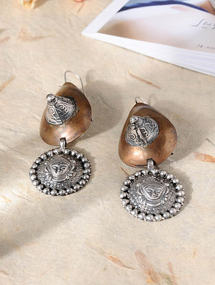 Dual Tone Vintage Inspired Silver Earrings