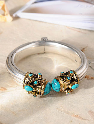 Dual Tone Tribal Silver Cuff with Turquoise (Size: 2/4)