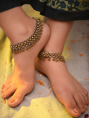 Gold Tone Silver Anklets (Set of 2)