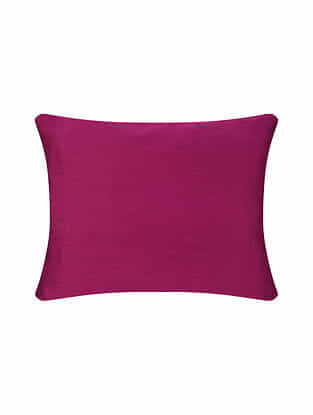 Magenta Chanderi Cushion Cover (16in X 12in)