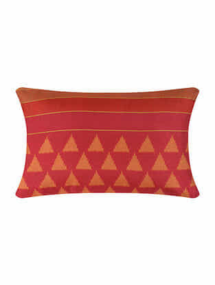 Red Digital Printed Silk Cushion Cover (20in X 12in)