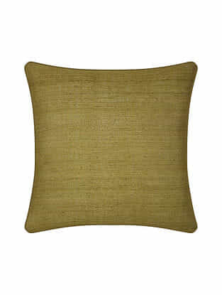 Green Tussar Silk Cushion Cover (16in X 16in)