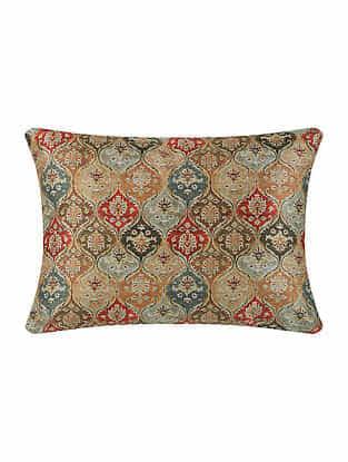 Multicolor Digital Printed Chanderi Cushion Cover (16in X 12in)